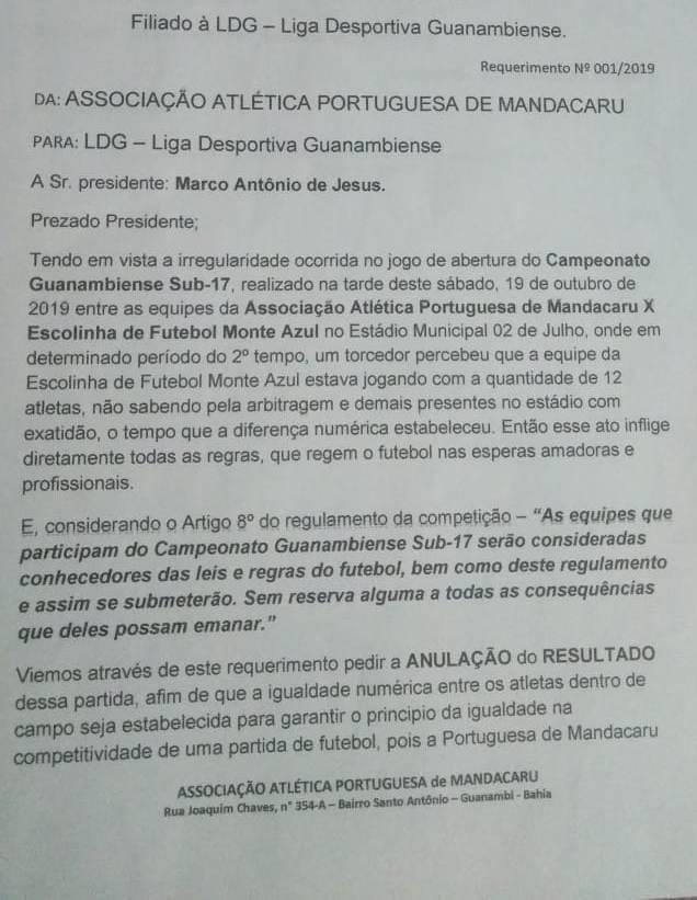 LDG – Liga Desportiva Guanambiense define data para julgamento de recurso contra time do Monte Azul